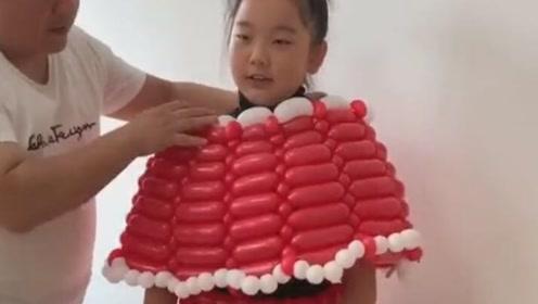 用气球给女儿做的裙子,真是喜欢的不得了啊!