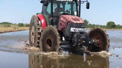 这样的拖拉机第一次见!专门用来种水稻,不知道袁隆平有没有!