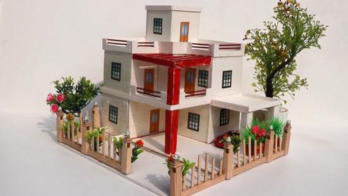 迷你小别墅,手工制作教程,来跟我建造一栋属于自己的别墅吧