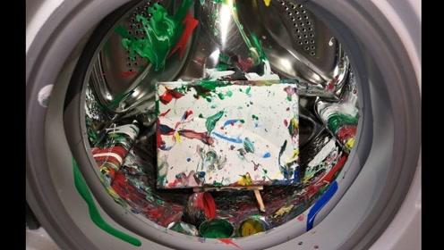 牛人用洗衣机作画?将颜料直接扔进去,毕加索都画不出的作品!