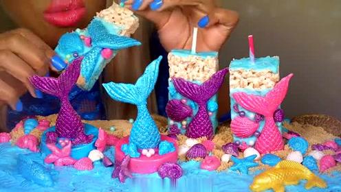 海洋沙滩主题美食甜点,不光有五彩斑斓的美人鱼,沙滩也是能吃的