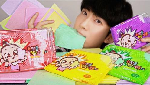 """韩国小哥什么都敢吃,竟吃起""""彩纸大餐"""",这胃口真是太好了!"""