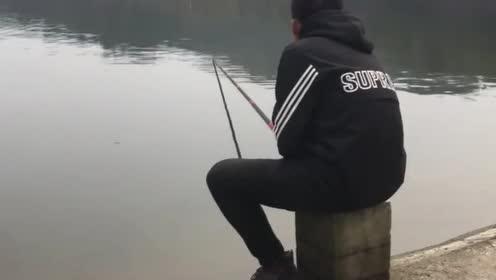 这是钓到了多大的一条鱼,小伙都被拉水里了,网友:与巨物搏斗