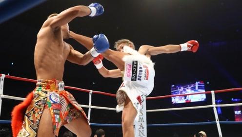 日本七十公斤级大佬一记冷招打懵年轻后辈,随后连续重拳KO对手,毫不留情