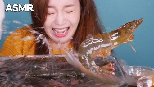 """韩国美女生吃""""活虾"""",还没开吃,就被吓得花容失色!"""