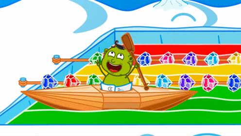 小怪兽想划船,爸爸直接给他建了一个大泳池,玩的超级开心!