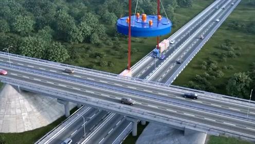 动画演示货车和无人机运输特种货物过高架桥,这操作简直太牛了
