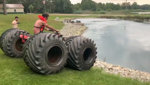 给沙滩车换上超大轮胎,冲下池塘的那一刻,震撼才刚刚开始!