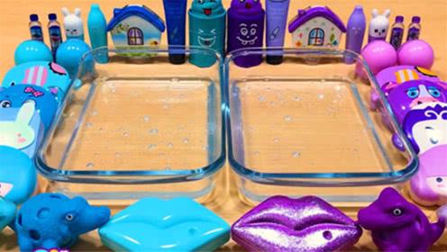 DIY史莱姆教程,蓝色紫色压力球、化妆品套装、透明水晶泥