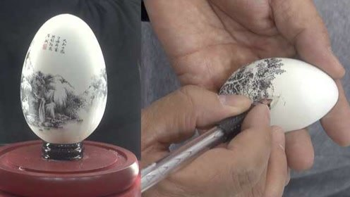巧手匠心!大叔把蛋壳当画纸,描绘山水一年卖出上万颗