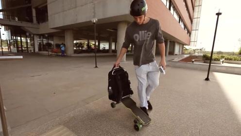 背包一样的电动滑板,用手柄进行遥控操作,时速可达24公里每小时