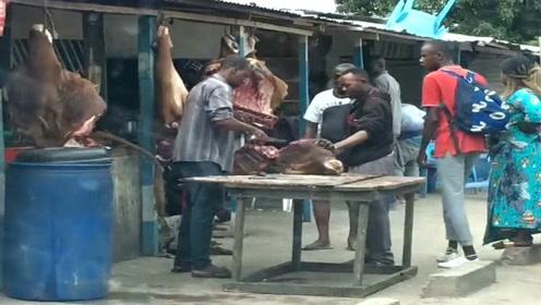 非洲街头的牛肉店,都是带着皮卖,大多数人是吃不起的!