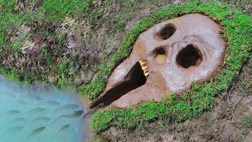 """男子在河边挖了个大""""骷髅头"""",一段时间后,发现里面藏满好东西"""