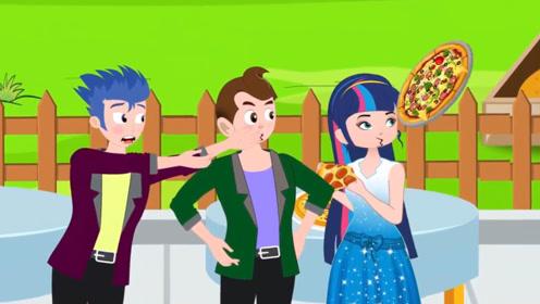 男孩和好友做披萨饼比赛,拿出时太激动,手抖摔在了地上!