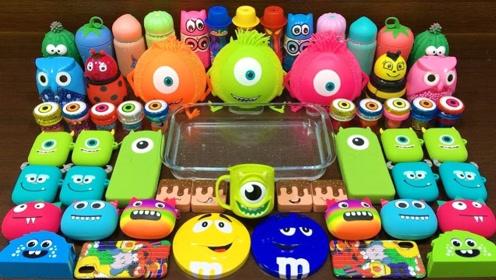 彩色巧克力豆搭配各种解压玩具,自制无硼砂史莱姆,解压治愈