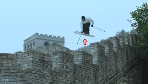 外国人在长城上滑雪,技术令人佩服,网友:破坏了文物怎么办?