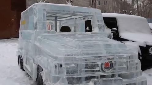 外国小伙用6吨冰块打造奔驰大G,启动油门后,实在太酷炫了!