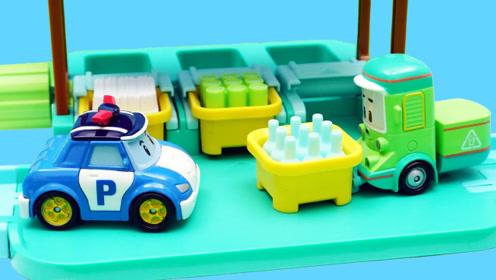 变形警车珀利的垃圾清理场玩具