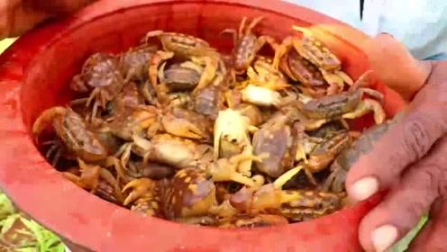 印度大爷农田里发现有螃蟹,赶紧拾起来做成了美食,这美食一出锅我无语了!