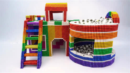 如何用磁力巴克球建造双层宠物屋?
