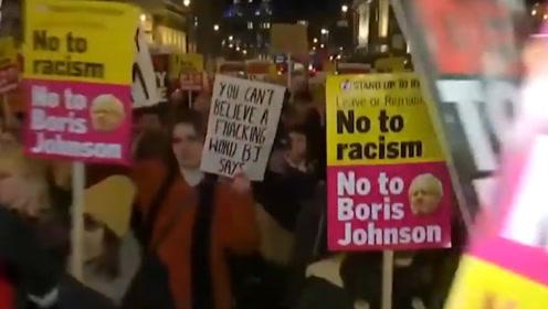 """""""让约翰逊见鬼去吧""""英国大选结束后,抗议者就上街了"""