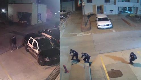 令人发指!美国警察车内遭歹徒连开10枪身亡 监控录下恐怖一幕