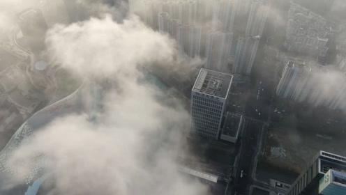 平流雾光顾苏州 宛如仙境一般壮观美丽