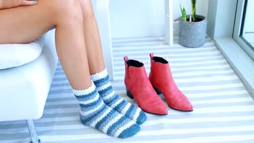 欧美时尚穿搭,毛巾袜配小短靴,吹风一吹柔软舒适!