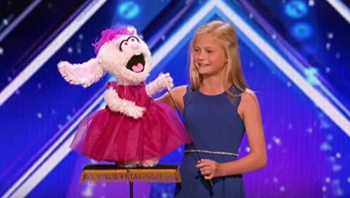 腹语还能飚高音!美国达人秀12岁女孩用腹语让她的兔子开口唱歌