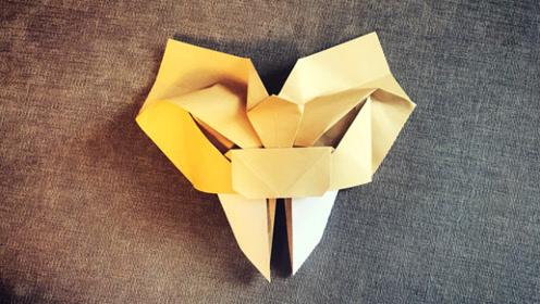 创意手工折纸,一款面具造型的虎豹头,很是帅气呀!