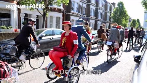 伦敦复古骑行,华裔高知网红成颜值担当