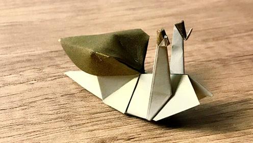 一只可爱的蜗牛折纸,眼睛都有了很细节