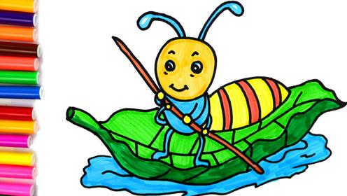 儿童趣味卡通简笔画,小蚂蚁来过河!