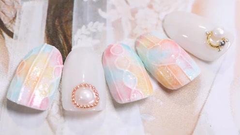 小清新马卡龙色美甲 立体珍珠让你美得闪亮