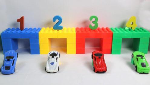 趣味启蒙认识数字和颜色,奇趣蛋变身小汽车进停车库