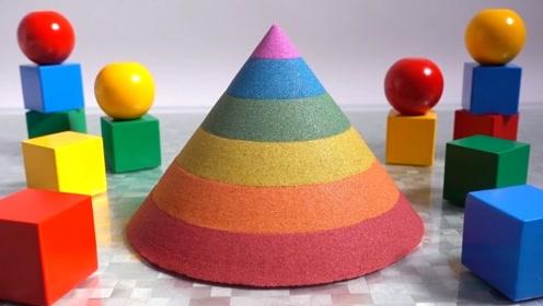 宝宝巴士魔力太空沙—彩虹塔,颜色错落有致、边缘整齐,动手做起来