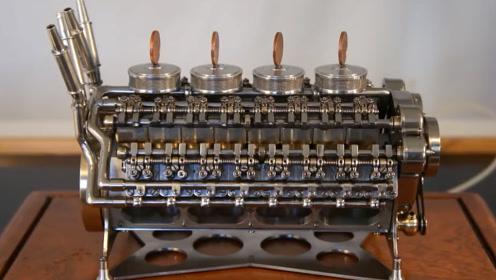 退休工程师纯手工打造一台32缸迷你发动机,硬币立在上面都不会倒