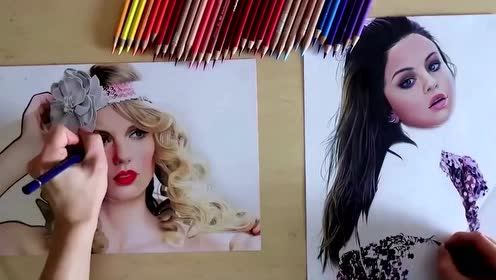 女子用左右手作画 分分钟画出两个美女