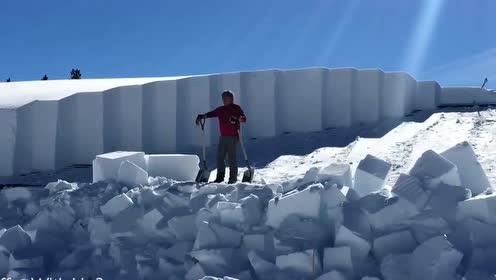 强迫症患者福音 积雪达2米工人专业手法清积雪