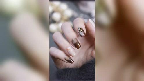 宝石宽猫款美甲  灵动闪烁 如指尖镶嵌的珠宝 一看就会的教程