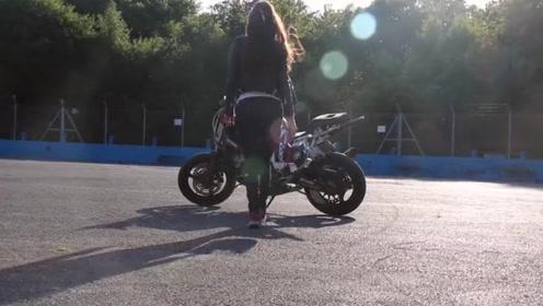 性感美女骑士太撩人,这骑技恐怕连普通的男赛车手都不及她!