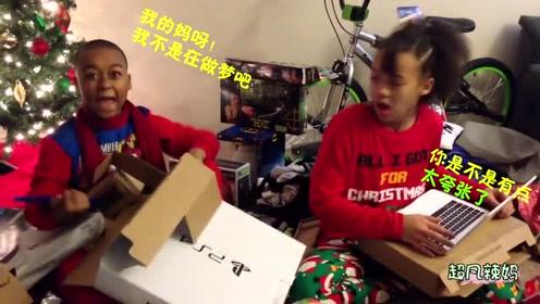 圣诞节的早上,宝宝打开礼物袋那一刻,一脸的疑惑