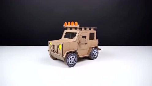 创意手工diy,硬纸板手工制作吉普牧马人越野车模型