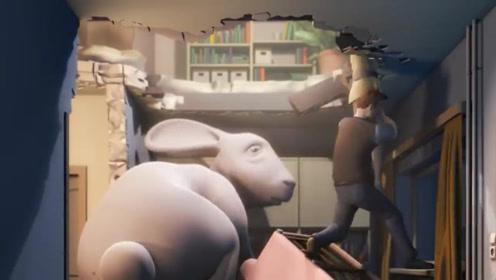 男人养了只比房子还大的兔子,怕被女邻居知道,结果房子塌了