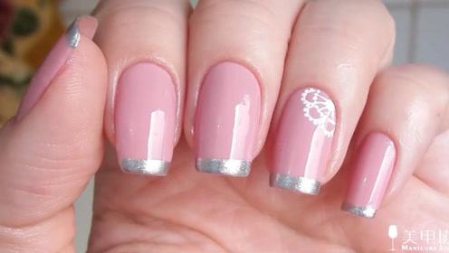 纯色美甲点缀蕾丝小花纹