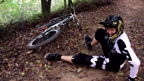 广东16岁的山地车爱好者,周末日常:爬山、速降、摔车和撞树