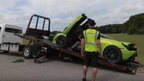 老外开迈凯伦飙车,结果把发动机跑起火,300万一场比赛有点贵!