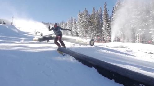 花式滑雪滑板挑战,这技术真的是太牛了
