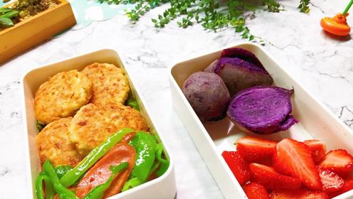 香香软软的豆腐煎饼,搭配青椒火腿和粗粮紫薯,还有饭后水果哟!