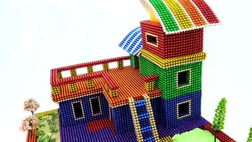 手工DIY创意:大神用磁铁球制作房子和游泳池,这环境也太好了
